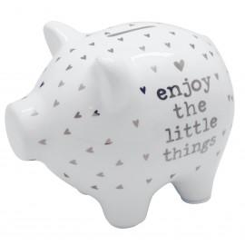 Tirelire céramique cochon, blanche à pois ou coeur, asst 2 textes, x12 pcs