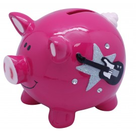 Pink and black pig moneybank with guitar, x 12pcs