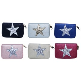 Zipped wallet with star, PU, assorted colors x 12