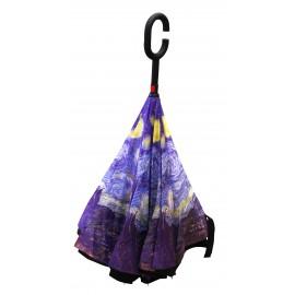 Parapluie inversé tableau VAN GOGH bleu