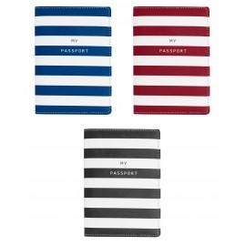 Protège passeport en PU motif rayé bleu , rouge ou noir assortis x 10
