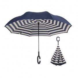 Parapluie inversé modèle rayé marine et blanc