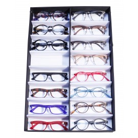 16 pairs of glasses display box, canvas and satin