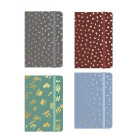 Carnets format A7 , 4 couleurs assorties décor doré, présentoir de 24 pcs