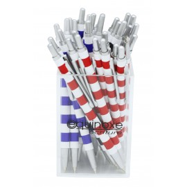 Mini metal ball pen, striped design, assorted colors x 30