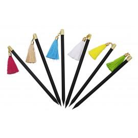 Black pencils with colored tassels attribute, x 36 pcs