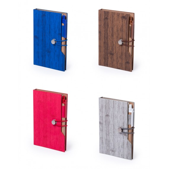 A6 notepad, recycled cardboard cover, 70 pages, post-it, asst 4 colors