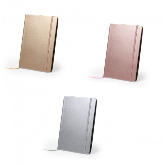 A5 notebook, 80 pages, PU cover, 3 assorted metallic colors