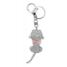Metal and strass keyring, cat with pink bow tie ,from behind