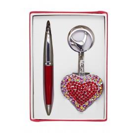 Coffret stylo rouge +  porte-clé coeur strass rouges