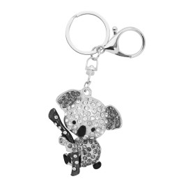 Metal and strass keyring, koala with bamboo design