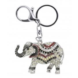 Porte clés éléphant en émail et strass ton marron