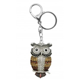 Brown owl keyring, enamel and strass
