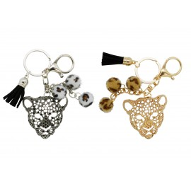 Leopard metal keychain with pompon, assorted silver and gold colors