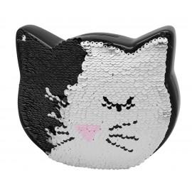 Tirelire chat en céramique noire et sequins réversibles noir et blanc