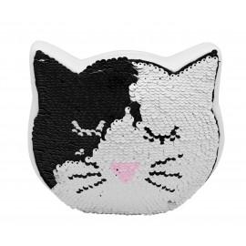 Tirelire chat en céramique blanche et sequins réversibles noir et  blanc