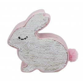 Rabbit money bank in ceramic and reversible sequins, iridescent pink