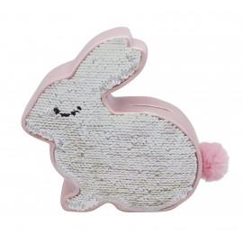 Tirelire lapin en céramique et sequins réversibles, rose irisé