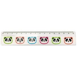 Règle transparente avec têtes de pandas colorés, x 36 pcs