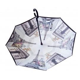 Parapluie inversé motif monuments de Paris x 4