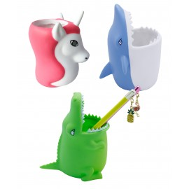 Pots à crayons forme crocodile, licorne et requin