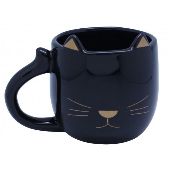 Black ceramic mug head cat shaped