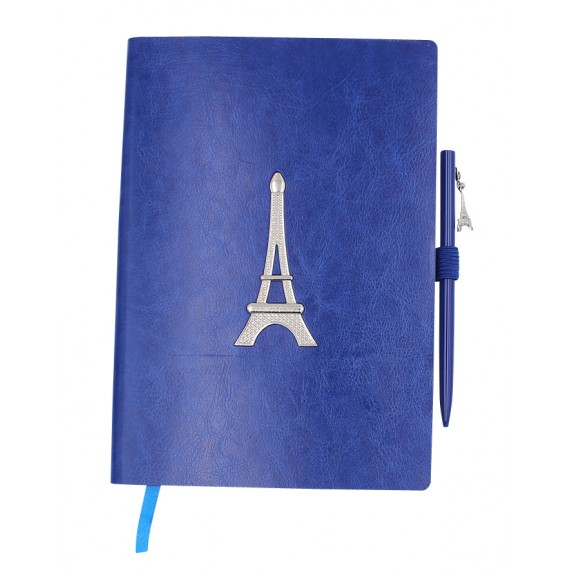 A5 notebook, 96 white 100 g pages, blue PU cover, Eiffel Tower + pen