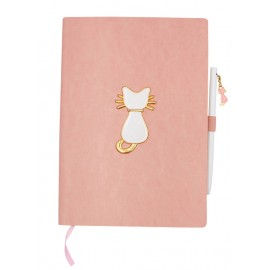 A5 notebook, 96 white 100 g pages, light pink PU cover, cat design + pen