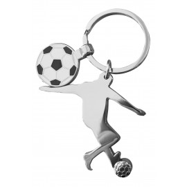 Metal keychain with soccer player and ball