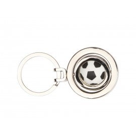 Metal keychain with swinging soccer ball