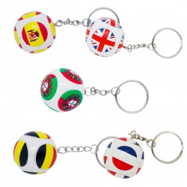 Soccer balls keychain with countries flags