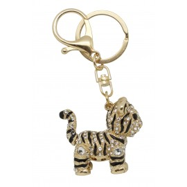 Chrome  metal tiger keychain, enamel and  rhinestones