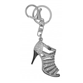 Chrome metal high heel shoes keychain, enamel and  rhinestones