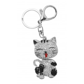 Chrome cat keychain set with rhinestones