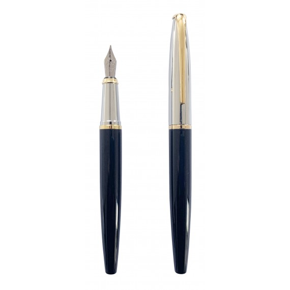 Black laquered fountain pen, gold and silver finishes
