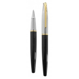 Black laquered roller pen, gold and silver finishes