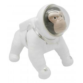 Tirelire singe cosmonaute en céramique blanche