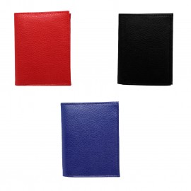 Leather card wallet assorted colors x 6 pcs