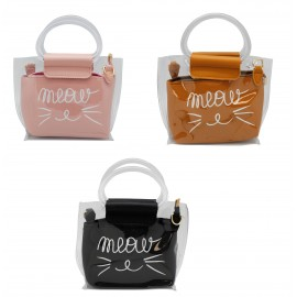 Children's bag in colored and transparent PU, cat design, assorted colors