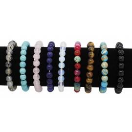 Bracelets pierres véritables onyx, lapis lazuli, oeil de tigre