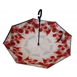 Parapluie inversé motifs coquelicots