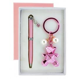 Coffret stylo + porte clés ourson rose métallisé avec perles nacrées