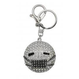 Porte clé Smiley masque avec strass