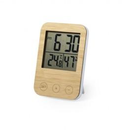Réveil avec fonction température et degré d'humidité façade bambou Piles AAA non incluses