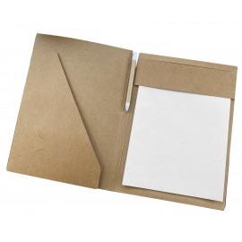 Bloc-notes cartonné A4, 20 feuilles blanches recyclées, stylo bille inclus