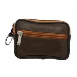 Porte monnaie porte clés 2 zips en cuir couleurs assorties X12