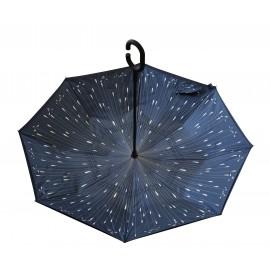 Parapluie inversé marine motif gouttelettes