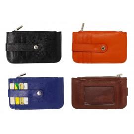 Etui porte-cartes porte-monnaie avec pression en cuir, coloris assortis X12