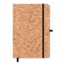 cahier A5 couverture liège  papier ligné 96 pages fermeture élastique.