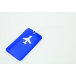 Etiquette à bagage bleu symbole avion en PVC